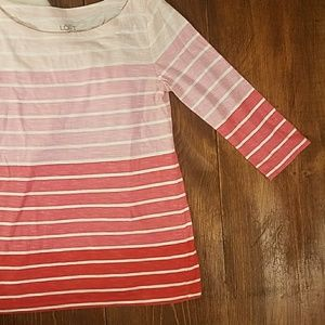 LOFT Tops - LOFT Gradient Pink Boatneck Shirt [Tops]